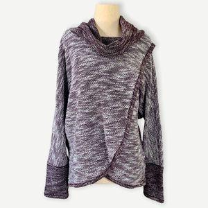 CALVIN KLEIN Sz L Purple Wrap Style Cowl Neck Top